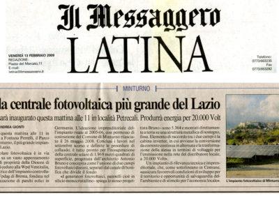 PV Minturno inaugurazione - Il Messaggero Latina 13022009