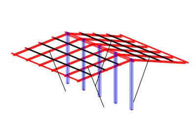Tettoia carrelli - modello strutturale